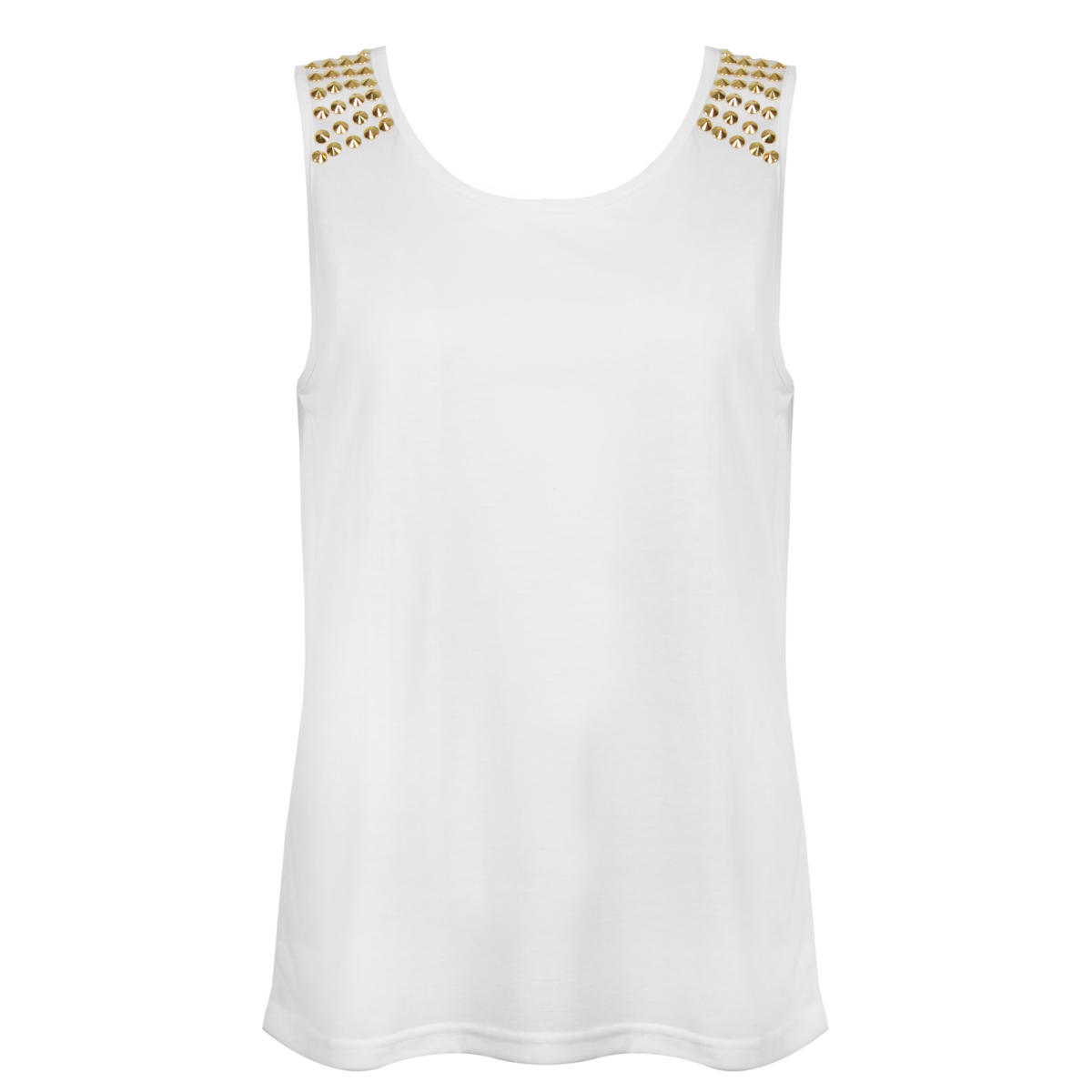 White Vest Top with Gold Studded Shoulder Detail Preview
